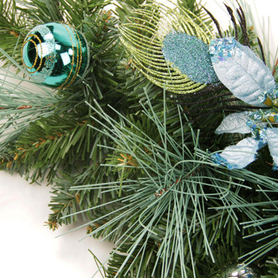 "24"" Pre-Decorated Peacock Blue and Silver Balls and Poinsettias Artificial Christmas Wreath - Unlit"""