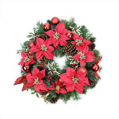 "24"" Pre-Decorated Red Poinsettia  Pine Cone and Ball Artificial Christmas Wreath - Unlit"