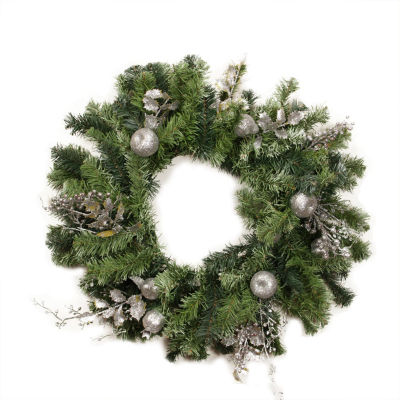 """24"""" Pre-Decorated Silver Fruit  Holly Berry and Leaf Artificial Christmas Wreath - Unlit"""""""