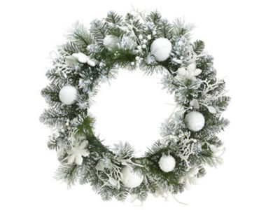 "24"" Pre-Decorated Snowy Flocked Artificial Christmas Wreath - Unlit"