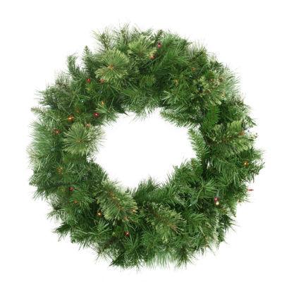 "24"" Pre-Lit Atlanta Mixed Cashmere Pine ArtificialChristmas Wreath - Multi-Color Lights"""