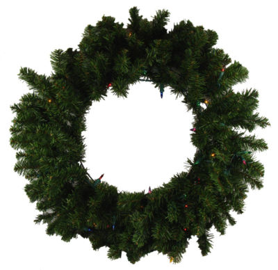"24"" Pre-Lit Canadian Pine Artificial Christmas Wreath - Multi-Color Lights"""