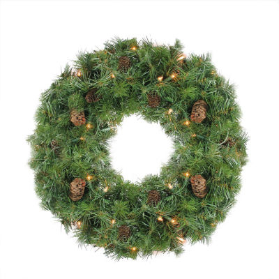 "24"" Pre-Lit Dakota Red Pine Artificial Christmas Wreath - Clear Dura Lights"