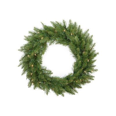 "24"" Pre-Lit Essex Pine Artificial Christmas Wreath- Clear Lights"""