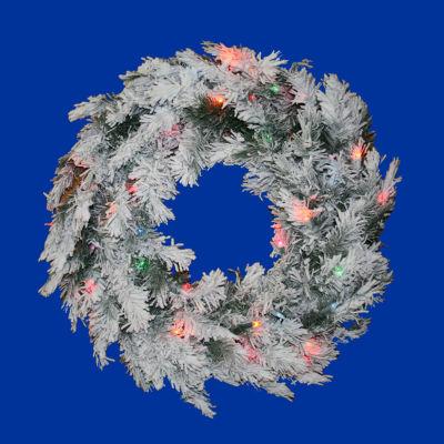 "24"" Pre-Lit Flocked Alaskan Artificial Christmas Wreath - Multi Dura Lights"""