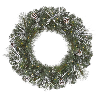 "24"" Pre-Lit Flocked and Glittered Mixed Pine Christmas Wreath - Clear Lights"""