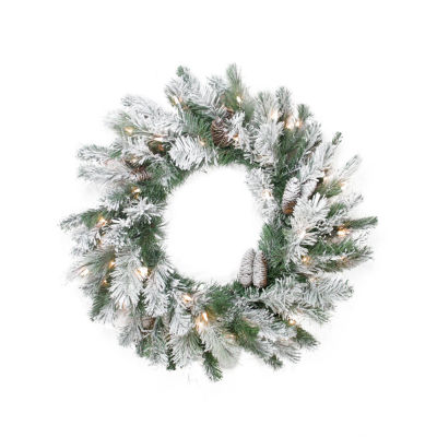 "24"" Pre-Lit Flocked Victoria Pine Artificial Christmas Wreath -  Clear Lights"""