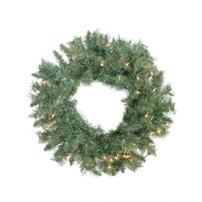 "24"" Pre-lit Minetoba Pine Artificial Christmas Wreath - Clear Lights"""