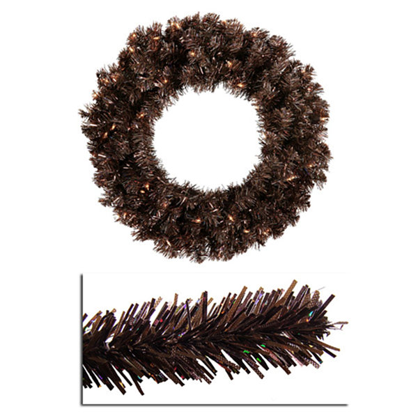 "24"" Pre-Lit Mocha Brown Sparkling Artificial Christmas Wreath - Clear Lights"""