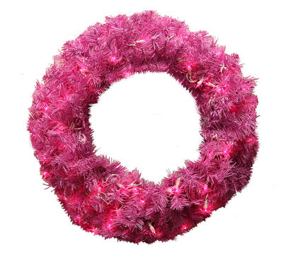 "24"" Pre-Lit Orchid Pink Cedar Pine Artificial Christmas Wreath - Pink Lights"""