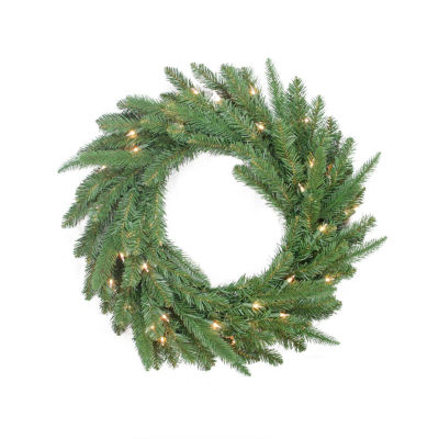 """24"""" Pre-Lit PE/PVC Mixed Pine Artificial ChristmasWreath - Clear Lights"""""""