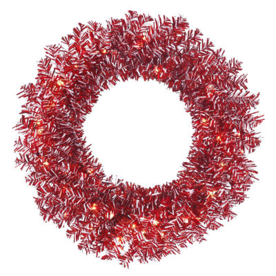 "24"" Pre-Lit Red and White Candy Cane Artificial Christmas Wreath - Clear Lights"""