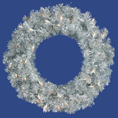 "24"" Pre-Lit Silver Sparkling Tinsel Artificial Christmas Wreath - Clear Lights"""