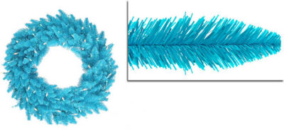 """24"""" Pre-Lit Sky Blue Ashley Spruce Christmas Wreath - Clear & Blue Lights"""""""