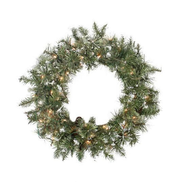 "24"" Pre-lit Snow Mountain Pine Artificial Christmas Wreath - Clear Lights"""