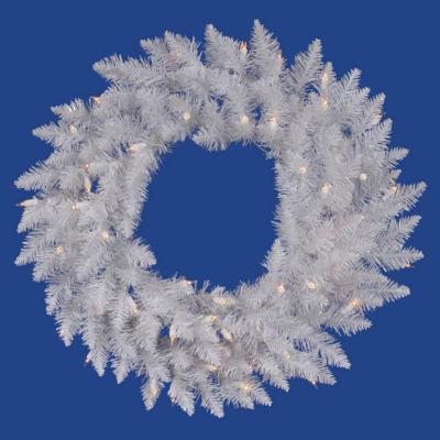 "24"" Pre-Lit Sparkle White Spruce Christmas Wreath- Pure White LED Lights"