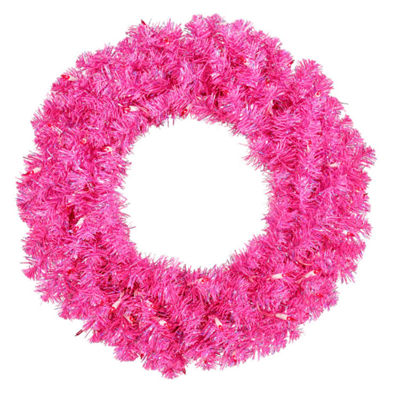 "24"" Pre-Lit Sparkling Hot Pink Tinsel Artificial Christmas Wreath - Pink Lights"""