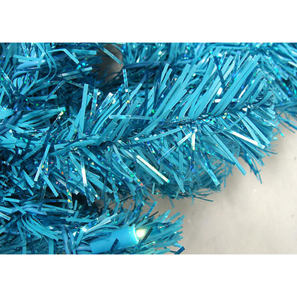 "24"" Pre-Lit Sparkling Sky Blue Artificial Christmas Wreath - Teal Lights"""
