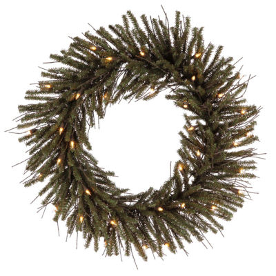 """24"""" Pre-Lit Vienna Twig Artificial Christmas Wreath - Clear Lights"""""""