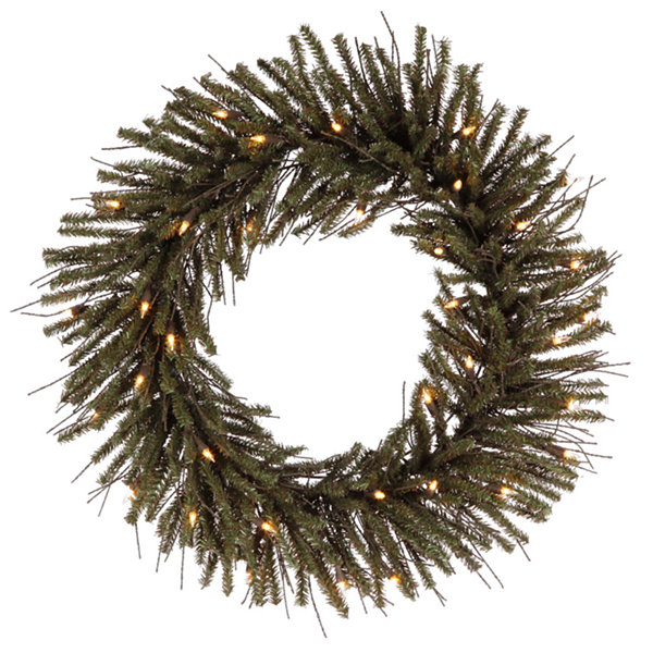 "24"" Pre-Lit Vienna Twig Artificial Christmas Wreath - Clear Lights"""