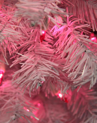 "24"" Pre-Lit White Cedar Pine Artificial ChristmasWreath - Pink Lights"""