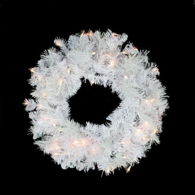 "24"" Pre-lit White Iridescent Mixed Pine ArtificialChristmas Wreath - Clear Lights"""