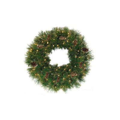 """24"""" Pre-Lit Yorkville Pine Artificial Christmas Wreath - Clear Lights"""""""