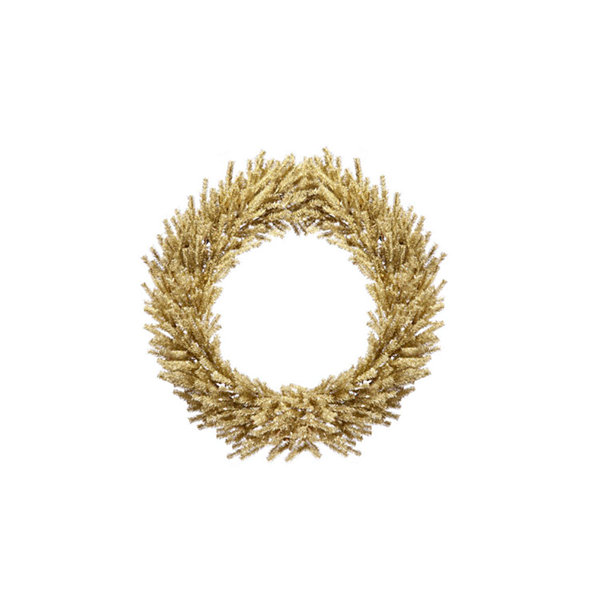 "24"" Sparkling Champagne Gold Tinsel Artificial Christmas Wreath - Unlit"""