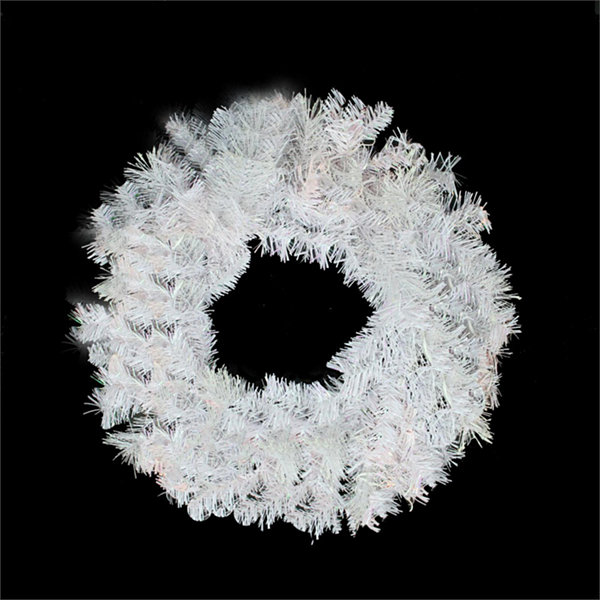 "24"" White Iridescent Mixed Pine Artificial Christmas Wreath - Unlit"""