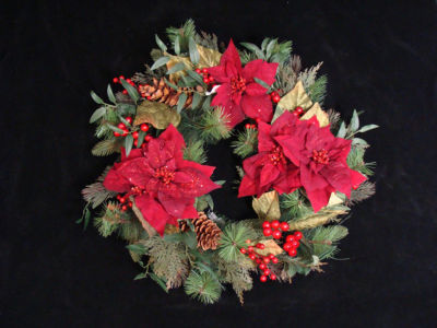 "26"" Poinsettia Berry and Pine Cone Artificial Christmas Wreath - Unlit"""