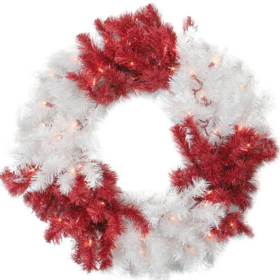 "29"" Peppermint Twist Red and White Christmas Tinsel Wreath - Clear Lights"""