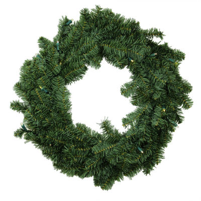 "30"" B/O Canadian Pine Artificial Christmas Wreath- Warm Clear LED Lights"""