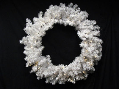 "30"" B/O Pre-Lit Snow White Artficial Christmas Wreath - Warm Clear LED Lights"""