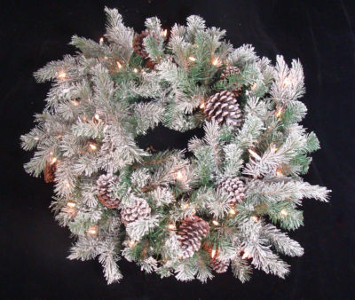 "30"" Flocked Pine Cone Christmas Wreath - Clear Lights"""
