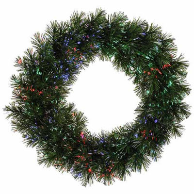 "30"" Pre-Lit Fiber Optic Artificial Pine ChristmasWreath - Multi Lights"""