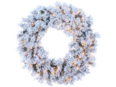 "30"" Pre-Lit Flocked Chestnut Jubilee Artificial Christmas Wreath - Clear Lights"""