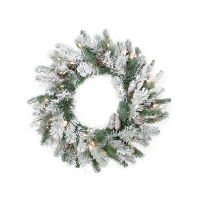 "30"" Pre-Lit Flocked Victoria Pine Artificial Christmas Wreath -  Clear Lights"""