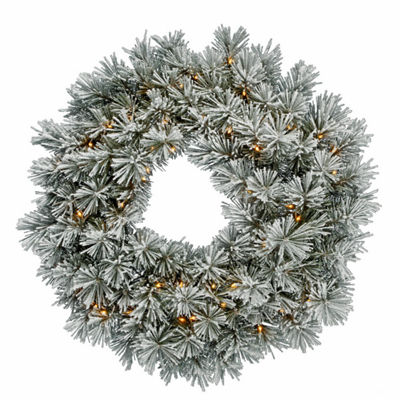 "30"" Pre-Lit Flocked White Pine Artificial Christmas Wreath - Clear Dura Lights"""