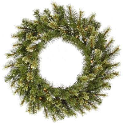 "30"" Pre-Lit Jack Pine Artificial Christmas Wreath- Clear Lights"""