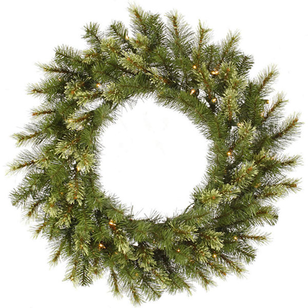 "30"" Pre-Lit Jack Pine Artificial Christmas Wreath- Warm Clear LED Lights"