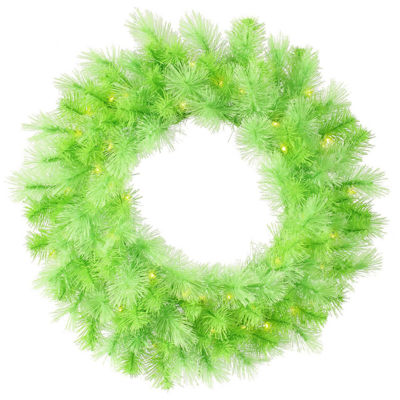 """30"""" Pre-Lit Lime Green Cashmere Artificial Christmas Wreath - Clear Lights"""""""