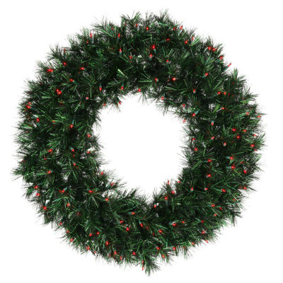 "30"" Pre-lit Midnight Green Pine Christmas Tinsel Wreath - Red Dura Lights"""