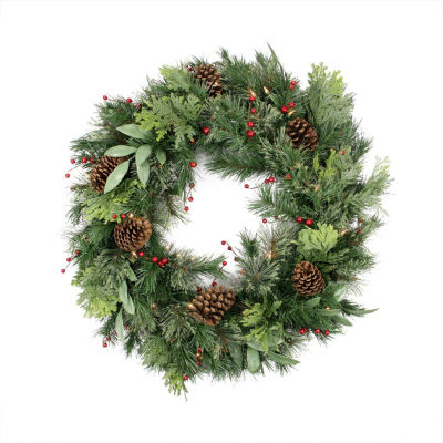 "30"" Pre-lit Pine Cone  Berry  Cedar and Pine Artificial Christmas Wreath - Clear Lights"""