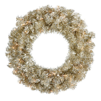 "30"" Pre-Lit Sparkling Champagne Tinsel ArtificialChristmas Wreath -Clear Lights"""