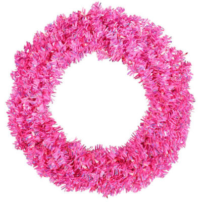 "30"" Pre-Lit Sparkling Pink Wide Cut Artificial Christmas Wreath - Pink Lights"""