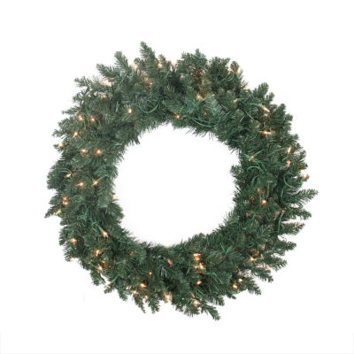 """30"""" Pre-lit Traditional Pine Artificial ChristmasWreath - Clear Lights"""""""