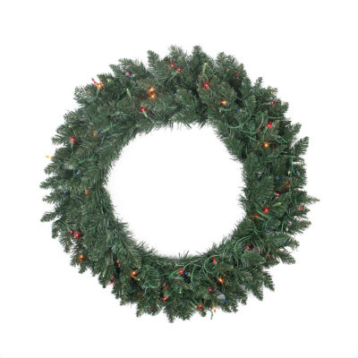 "30"" Pre-lit Traditional Pine Artificial ChristmasWreath - Multi Lights"""