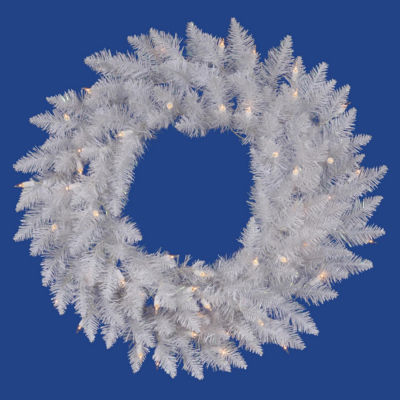 """30"""" Pre-Lit White Spruce Artifical Christmas Wreath - Pure White LED Lights"""""""