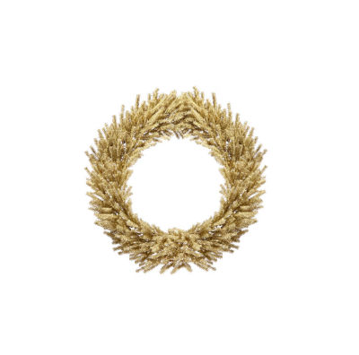 """30"""" Sparkling Champagne Gold Tinsel Artificial Christmas Wreath - Unlit"""""""