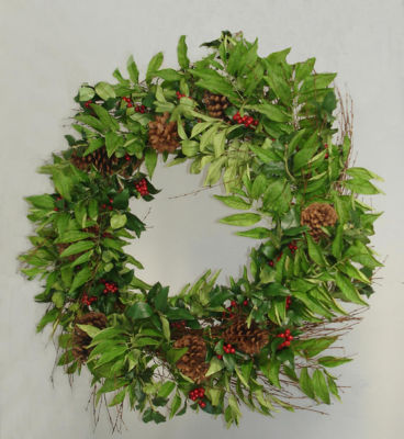 "33"" Holly Berry  Sorbus & Pine Cone Artificial Christmas Wreath - Unlit"""